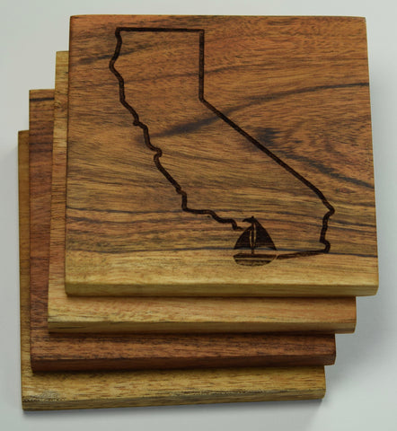 California Outline with Sail Boat for San Diego Coasters