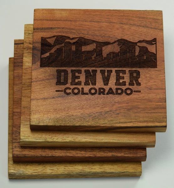 Denver, Colorado Skyline with Mountains Coasters