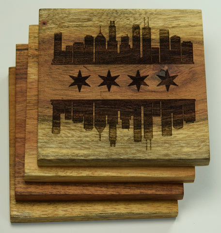 Chicago, Illinois Skyline Flag Coasters