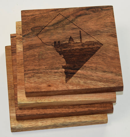 Washington DC Skyline Inside Federal District Outline Coasters