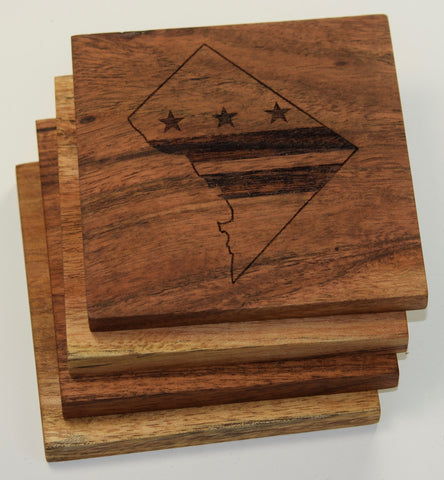Federal District Outline with Washington DC Flag Coasters