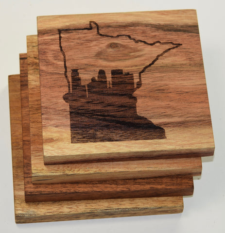 Minneapolis Skyline within Minnesota State Outline Coasters