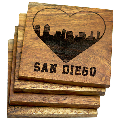 I Love San Diego California Skyline Coasters