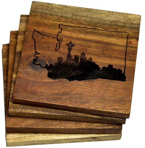 State Outline of Washington with Seattle Skyline Coasters