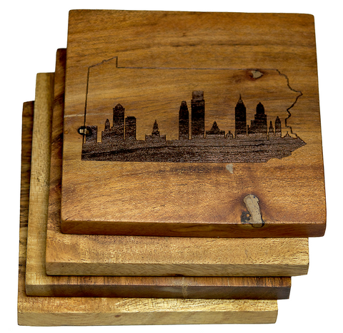 Philadelphia Skyline within Pennsylvania State Outline Coasters
