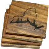 New York City Skyline in New York State Outline Coasters