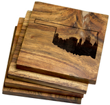 Oklahoma City Skyline within Oklahoma State Outline Coasters