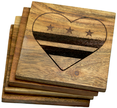 Washington DC Flag Heart Coasters