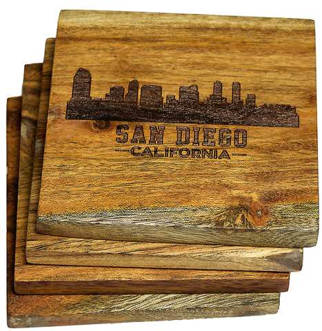 San Diego California Skyline Coasters Version Two
