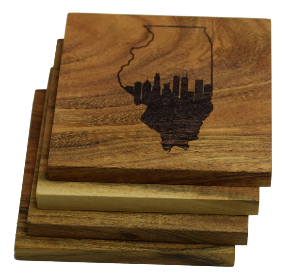 Chicago Skyline within Illinois Outline Coasters