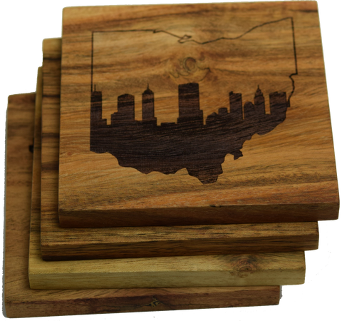 Columbus Ohio Skyline within Ohio Outline Coasters