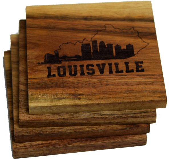 Louisville Skyline within Kentucky Outline Coasters