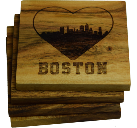 I Love Boston Massachusetts Skyline Coasters