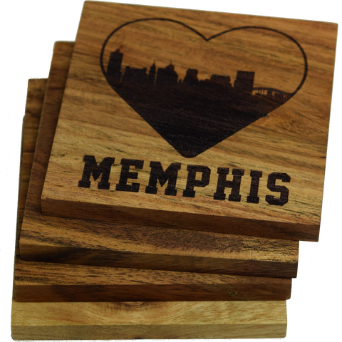 I Love Memphis Tennessee Skyline Coasters