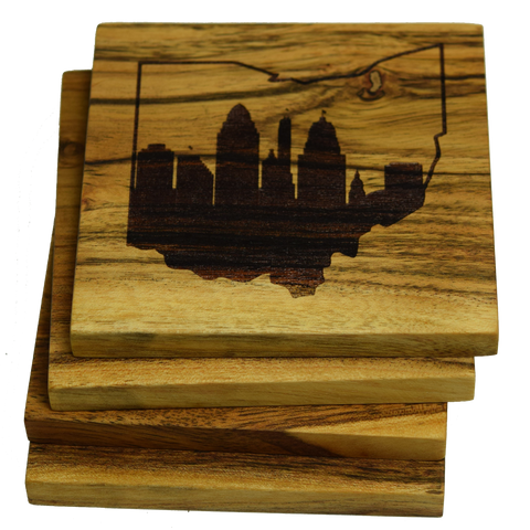 Cincinnati Skyline within Ohio Outline Coasters