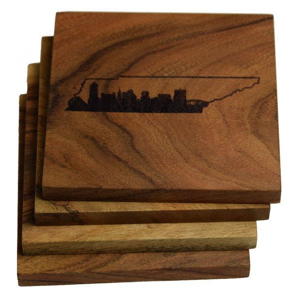 Memphis Skyline within Tennessee Outline Coasters