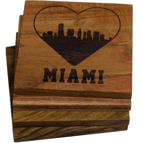 I Love Miami Florida Skyline Coasters