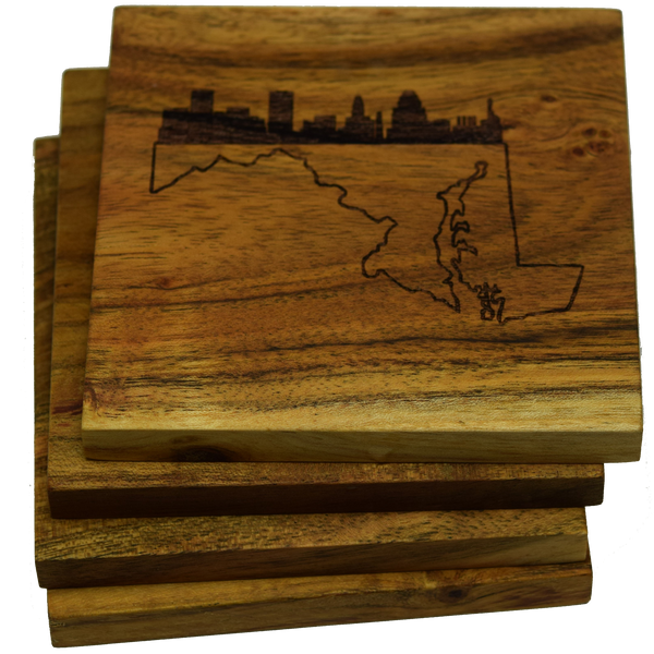Baltimore Skyline Over Maryland State Outline Coasters