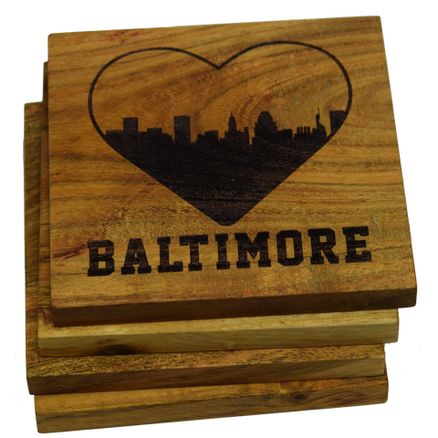 I Love Baltimore Maryland Skyline Coasters