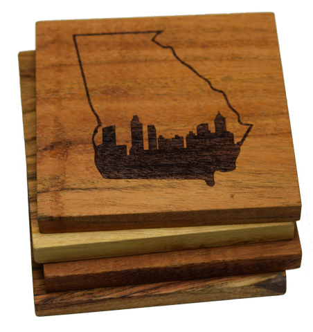 Atlanta Skyline within Georgia Outline Coasters