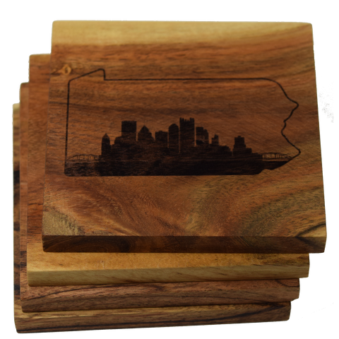Pittsburgh Pennsylvania Skyline within State Outline Coasters