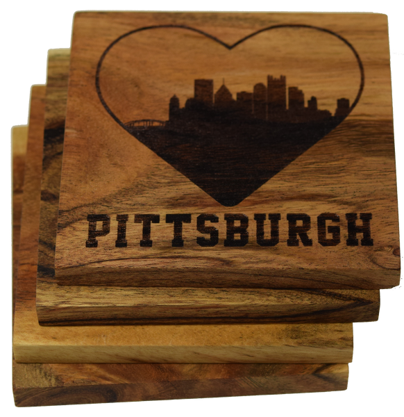 I Love Pittsburgh Pennsylvania Skyline Coasters