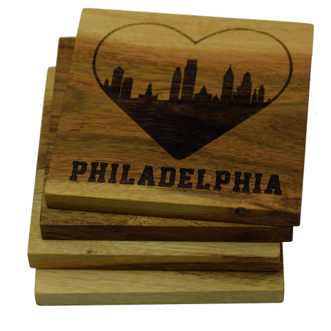 I Love Philadelphia Pennsylvania Skyline Coasters