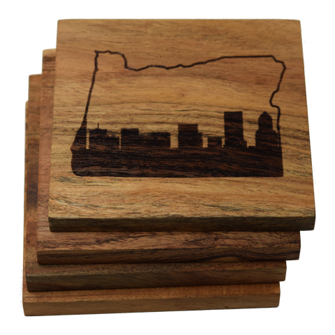 Portland Oregon Skyline within State Outline Coasters