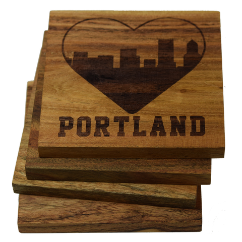 I Love Portland Oregon Skyline Coasters