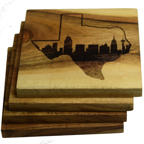 San Antonio Texas Skyline within State Outline Coasters