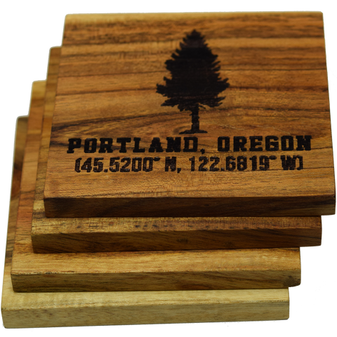 Portland Oregon Fir Tree Coasters