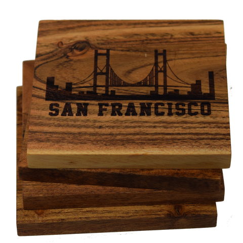 San Francisco California Golden Gate Bridge Skyline Coasters