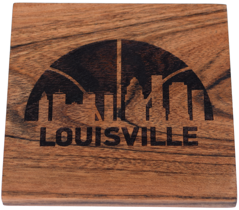 Louisville Kentucky Skyline with Basketball Coaster Set