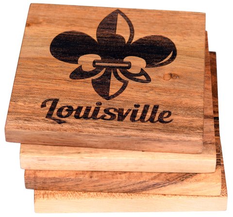 Louisville Kentucky Fleur De Lis Coaster Set