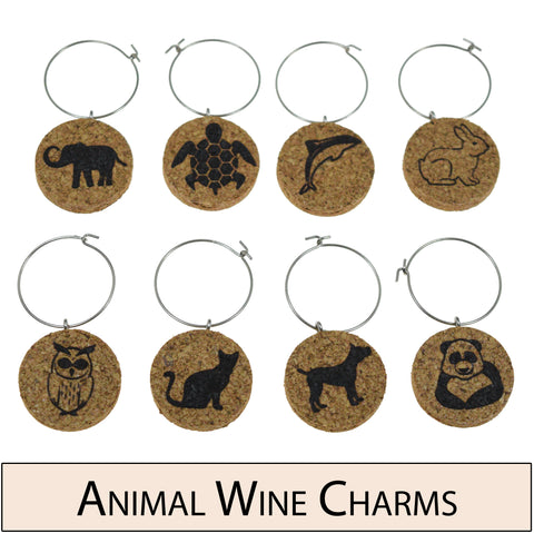 Cute Animal Cork Wine Glass Charms - Set of 8