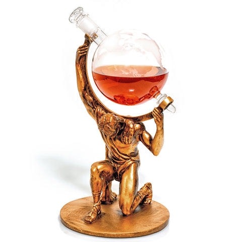 Etched Globe Whiskey/Wine Decanter with Atlas Base (Atlas - Bearer of Worldly Spirits)