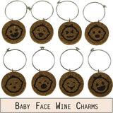 Baby Face Cork Wine Glass Charms - Set of 8
