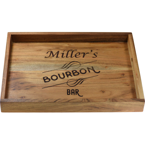 Custom Personalized Acacia Wood Bar Tray - Engraved