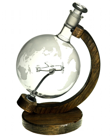 Etched Glass Globe Decanter with Plane Inside - 1000ml (P51 Mustang) - Backorder Approximately 1 Month