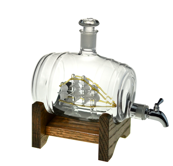 Tomoka Gold - 1000ml Glass Liquor/Wine Decanter with Oak Base