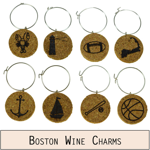 Boston Themed Cork Wine Glass Charms - Set of 8