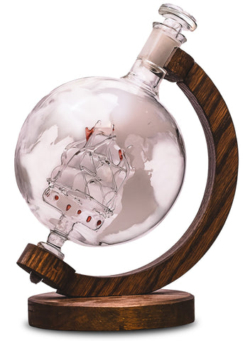 Etched Globe Liquor/Wine Decanter with Ship Inside - 1000ml (Magellan's Victoria)