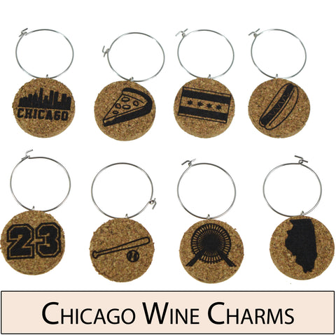 Chicago Themed Cork Wine Glass Charms - Set of 8