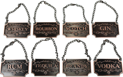 Copper Colored Decanter Tags / Labels - Set of Eight