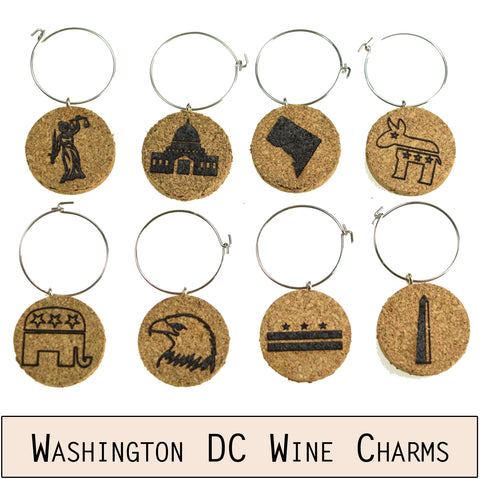 Washington DC Cork Wine Glass Charms - Set of 8