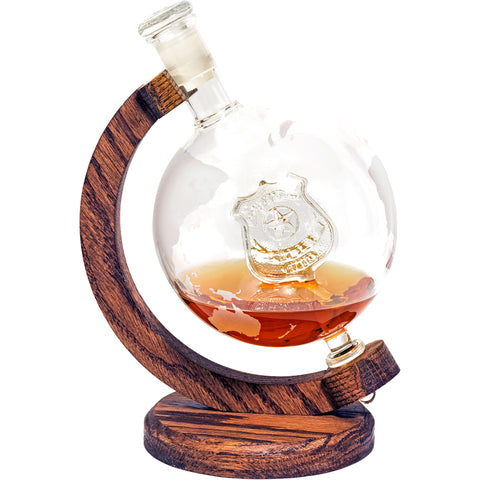 Police Department Decanter - 1000ml Etched Glass Globe Whiskey / Wine Decanter - (Police Decanter)