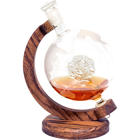 Fire Department Decanter - 1000ml Etched Glass Globe Whiskey / Wine Decanter - (Firefighter Decanter)