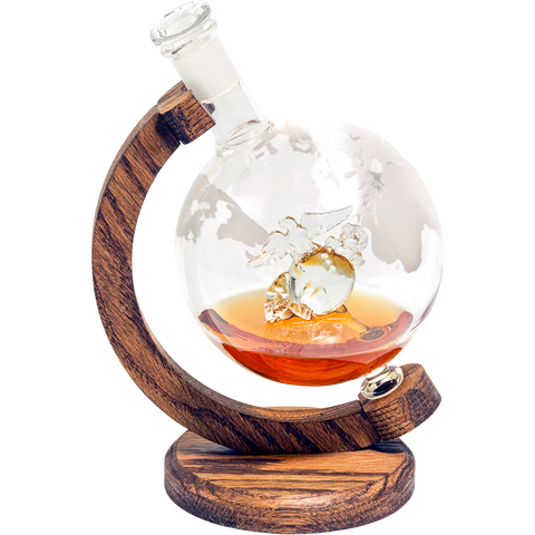 Marines Decanter - 1000ml Etched Glass Globe Whiskey / Wine Decanter - (Eagle Globe and Anchor Decanter)