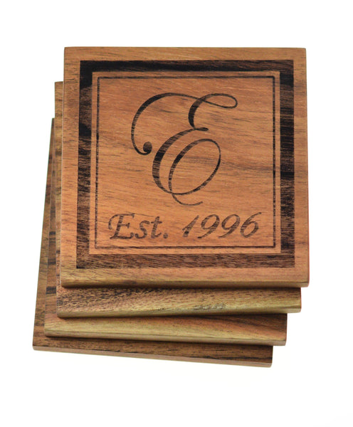 Personalized Coasters with Initial and Year (Set of 4)