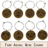 Baby Farm Animal Cork Wine Glass Charms - Set of 8